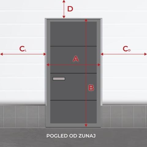 Enokrilna vrata klkuka LEVO